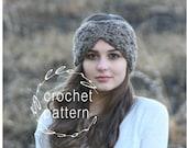 CROCHET PATTERN Turban Style Earwarmer The TRILLIUM Crochet Chunky Textured Bow Style Headband Tutorial with step by step photos