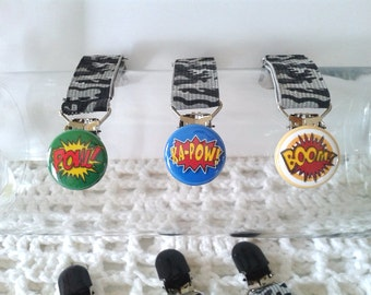Boys Super Hero Word Mitten Clips.....Toddlers, Big Boys, POW, KAPOW, BOOM, Comic Word Art, Comic Super Hero Sound effect,Super Hero Noise