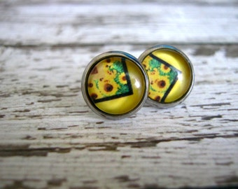 Abstract Sunflower Stud Earrings: Trendy Yellow Jewelry