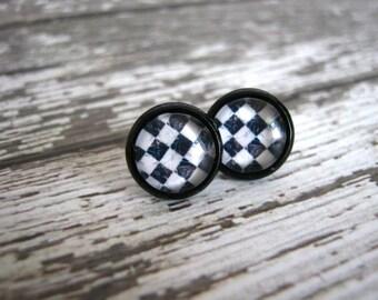 Checker Stud Earrings : Black White Pattern