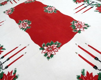 Vintage Christmas Tablecloth, 66 x 51, Linen Holiday Tablecloth, Red Poinsettias, Holly Berries, Vintage Linens by TheSweetBasilShoppe