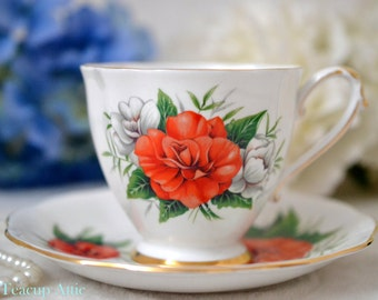 ON SALE Royal Standard Teacup and Saucer Orange And White Roses Signed By The Artist F. F. Errill, English Bone China Tea Cup, ca. 1949