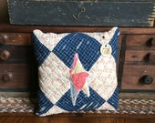 Americana July 4th 1776~ Primitive Decor~ Olde Quilt Prim Pillow Tuck~-Vintage quilt~ primitive country decor~Star-red blue