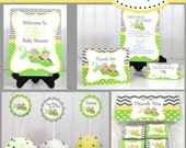 Twins,  Boy and Girl, Peas in a pod Baby Shower  Invitations & Decorations - Printable Party Package - DIY Editable Text    instant Download