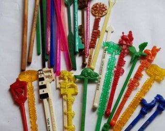 Vintage Swizzle Sticks Drink Stirs Mid Century Bar Colorful Souvenir