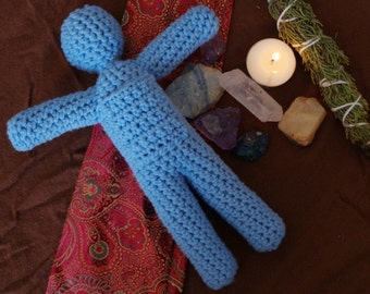 Light Blue Crochet Poppet. Voodoo Doll.