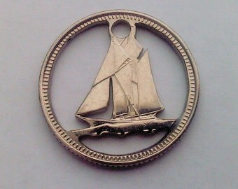 Canadian 10 cents. Coin cut charm. Bluenose - sailing ship.