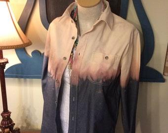 Bleach Dipped Ombre Denim Shirt Men's Medium Boyfriend Shirt Bleach Dyed Fall Fashion Distressed Denim Button Up Shirt