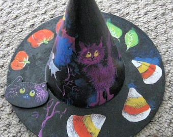 10 inch paper mache witch hat for Halloween decore, Howling witch  hat
