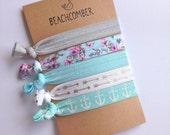 hair tie bracelets, beach bracelets, shabby chic jewelry, beach accessory, friendship bracelets, floral bracelet, girl gift