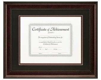 craig frames 11x14 inch dark mahogany document frame double mat with single 85x11 - Document Frames