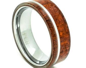 Tungsten Men's Wedding Band with Hawaiian Koa Wood Inlay  8mm Comfort Fit Pipe Cut