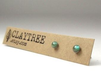 EMERALD Green Stud Earrings - Simple Studs - Hypoallergenic Post Earrings - Surgical Steel - Tiny Green Shimmer Earrings -Resin - 3mm Circle