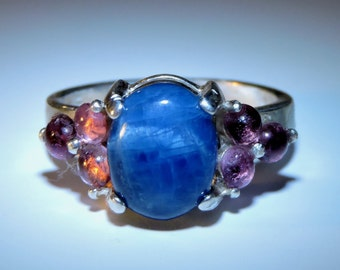 Blue Apatite & Pink Tourmalines Cabochon Sterling Silver Ring Size 6.5