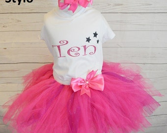 tenth birthday outfit,FREE SHIPPING,birthday outfit,birthday girl outfit,tenth birthday tutu,hot pink tutu,girl birthday outfit