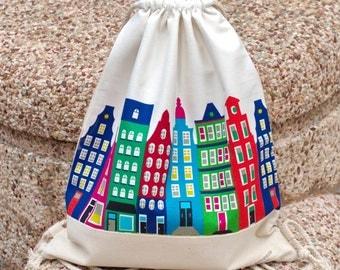 Drawstring backpack/ Cotton backpack/ Drawstring bag/ handmade backpack/ Gym bag/ Swim bag ~ Colorful buildings (c) (B39)