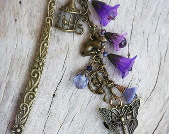FLUTTERBY Victorian Heirloom Metal and Beaded Bookmark, Ready to Ship