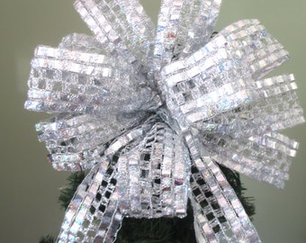 Silver Bow / Christmas Bow / Tree Topper Bow / Wreath Bow
