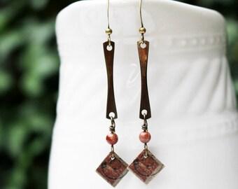 Mixed Media Earrings Mixed Media Jewelry Red Bead Beaded Jewelry Long Boho Dangle Earrings Gemstone Earrings Repurposed Gift for Her