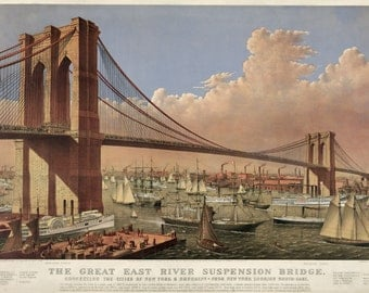 Currier and Ives: Reproductions -  The Great East River Suspension Bridge (Brooklyn) From New York looking South-East, 1877. Fine Art Print.