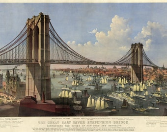 Currier and Ives: Reproductions -  The Great East River Suspension Bridge - Grand Bird's Eye View, 1892. Fine Art Print.