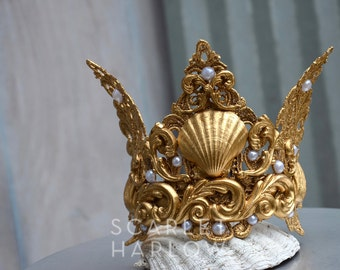 Mermaid Crown - Shell Crown - Festival Crown - Gold Crown - Bridal Crown - Bridal Headpiece - Mermaid Costume.