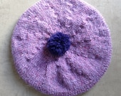 Children's Beret, Hat, Tam, Hand Knitted Beret, UK Seller, Violet, Lilac, Pure Wool