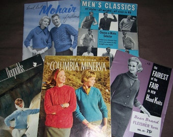 Collection of 5 Vintage 1960's Knitting Pattern Books for Men and Ladies..Neat Mid Century Patterns..Columbia Minerva.. Bear Brand..Reynolds