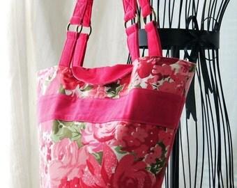 Large Purse, Top Handle Purse, Pink Purse, Floral Purse, Ladies Purse, Big Pink Purse