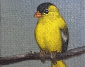 Original Oil Painting Tiny Goldfinch on Grey