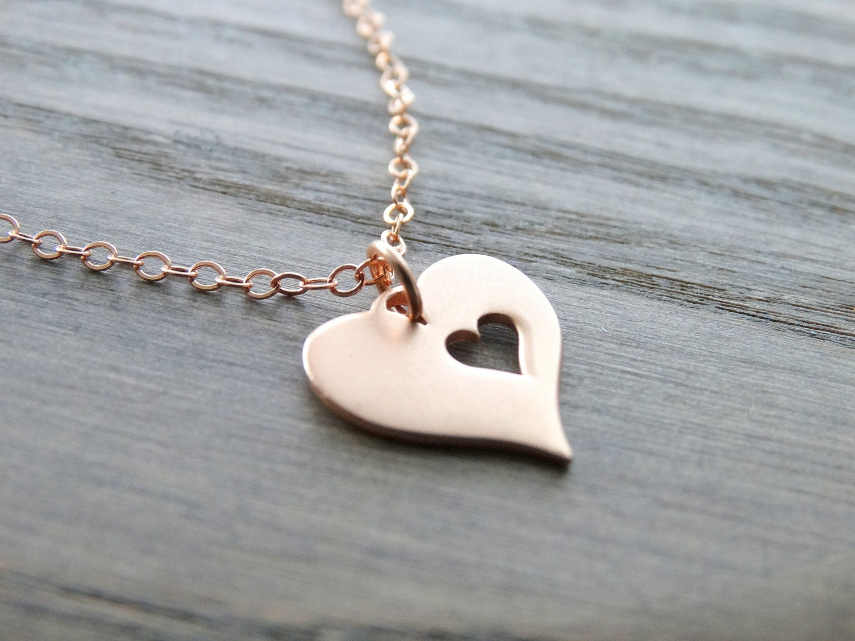 rose gold heart necklace mother day necklace love necklace. Black Bedroom Furniture Sets. Home Design Ideas