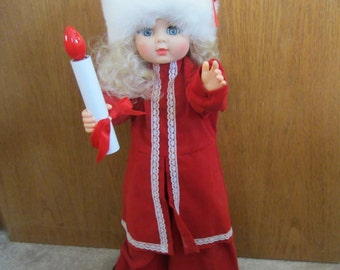 Motionette Christmas Motion Doll - Animated and Lights Up - Vintage Holiday Girl Figure Display - Vintage Christmas Holiday Decor