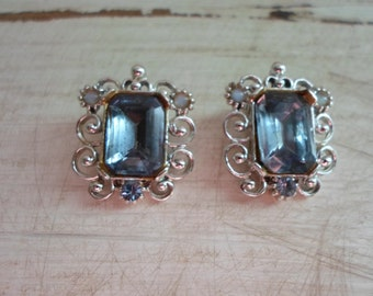 Vintage Rhinestone Earrings Icy Blue Silver Tone Filagree Clip On