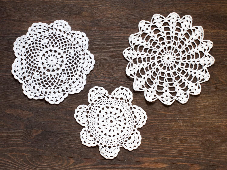 3 White Crochet Vintage Doilies Lace Doilies