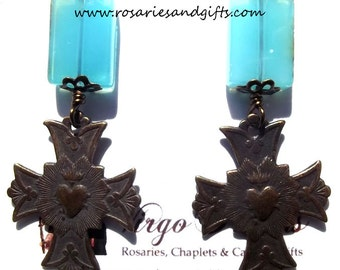 Sacred Heart of Jesus Catholic Earrings Jewelry Heirloom