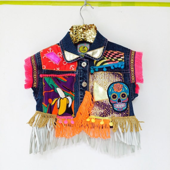 DIVE 2-4 Years Denim Jacket Upcycled with Fringe Patch and Pom Pom Trim MH
