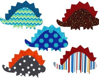 5 Iron on fabric dinosaur appliques DIY - baby shower appliques