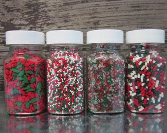Christmas Holly Sprinkle Set ~ Cookie Sprinkles ~ Hot Cocoa Sprinkles ~ Cupcake Sprinkles ~ Red Green & White Sprinkles