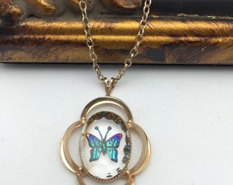 Butterfly Necklace Butterfly Vintage Necklace
