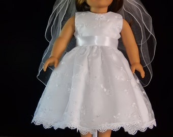 Handmade American Girl 18 Inch Embroidered Organza First Communion, Wedding, or Flower Girl Dress