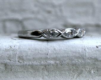Beautiful Vintage Platinum Wedding Band with Marquise Diamonds - 0.54ct.