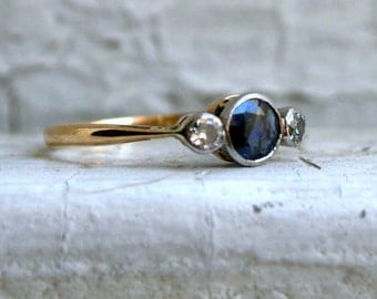 RESERVED - Vintage Sapphire and Diamond Three Stone Ring in 18K Yellow Gold - 0.71ct.