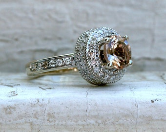 RESERVED - Beautiful Vintage 18K White Gold Diamond and Morganite Ring Halo Ring - 2.78ct.
