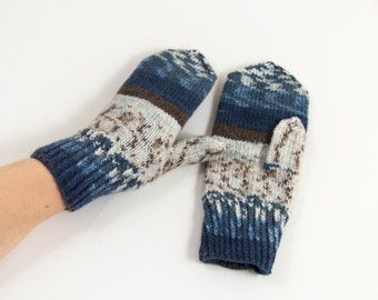 Knitted Mittens - Blue, Brown and White, Size Medium, Winter Accessories, Handmade Mittens, Wool Mittens, Winter Gift, Christmas Gift