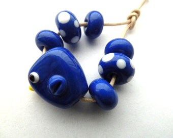 blue bird lampwork glass beads