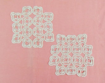 RESERVED FOR SHAKAY - 3 vintage square doilies, ivory crocheted doilies