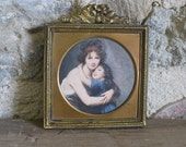 French gilded metal picture frame, miniature square gold picture of mother and child