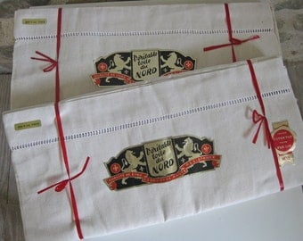 Metis sheet unused French linen cotton sheet with original labels 2 available
