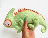 Chameleon soft toy kids Cotton green stuffed animal woodland creatures