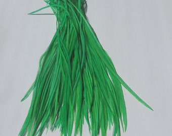 100 - 7 Inch Metz Rooster Feathers - Dyed Bright Green
